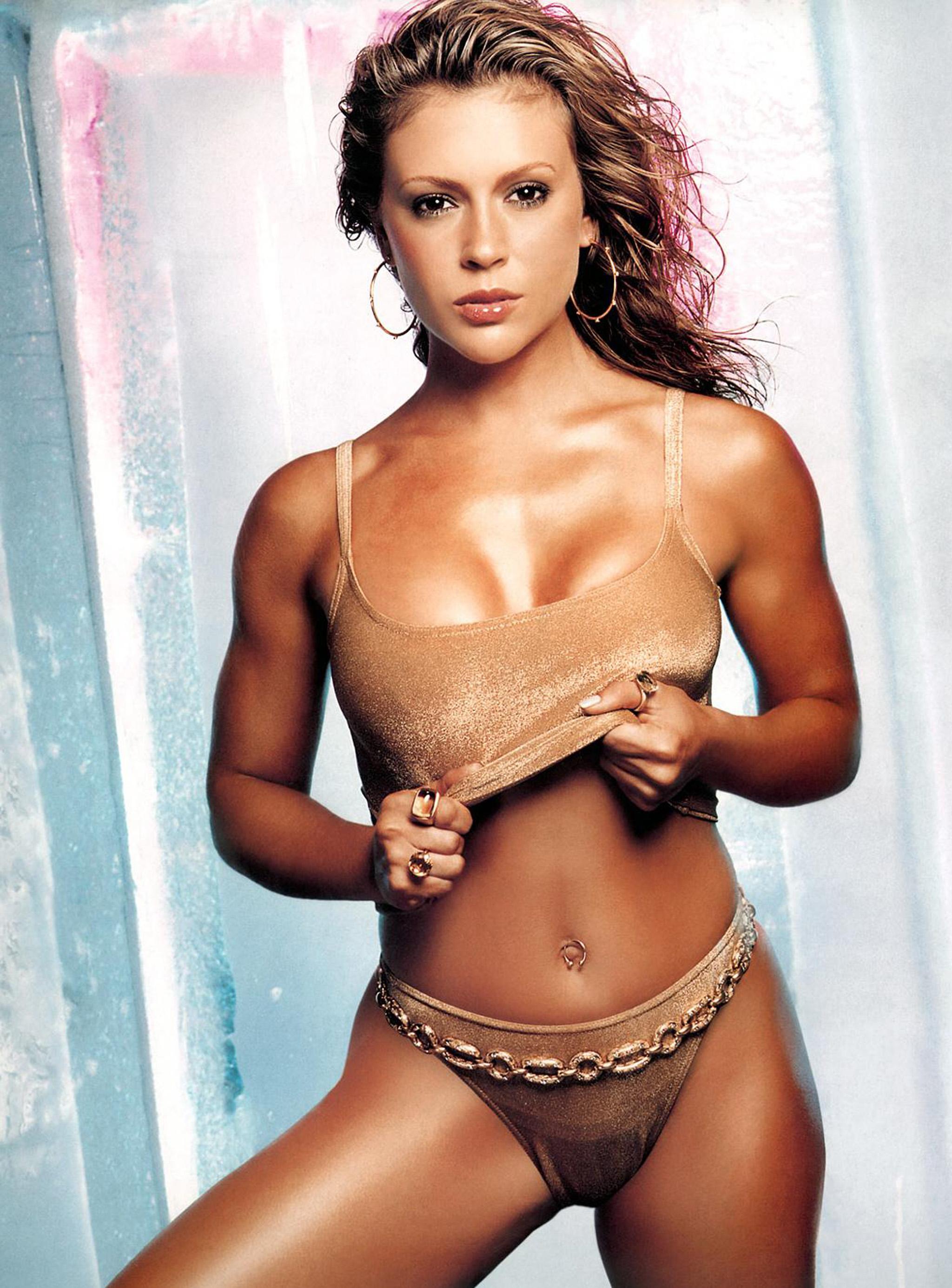 Alyssa Milano Half Nude With Oiled Body