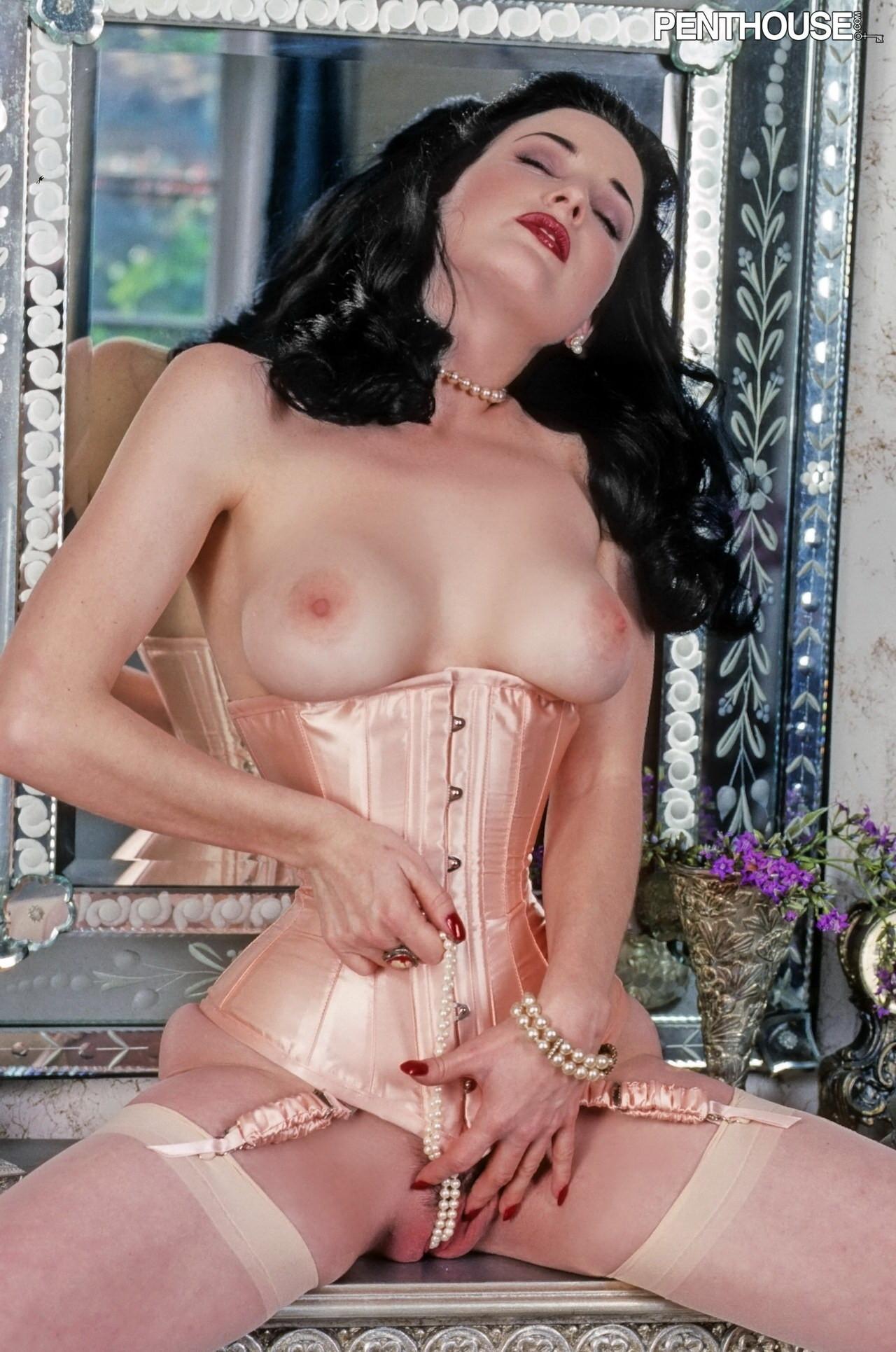 Dita Von Teese Half Nude Touching Pussy
