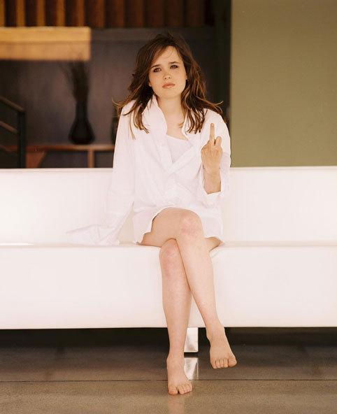 Ellen Page Half Nude Showing Middle Finger