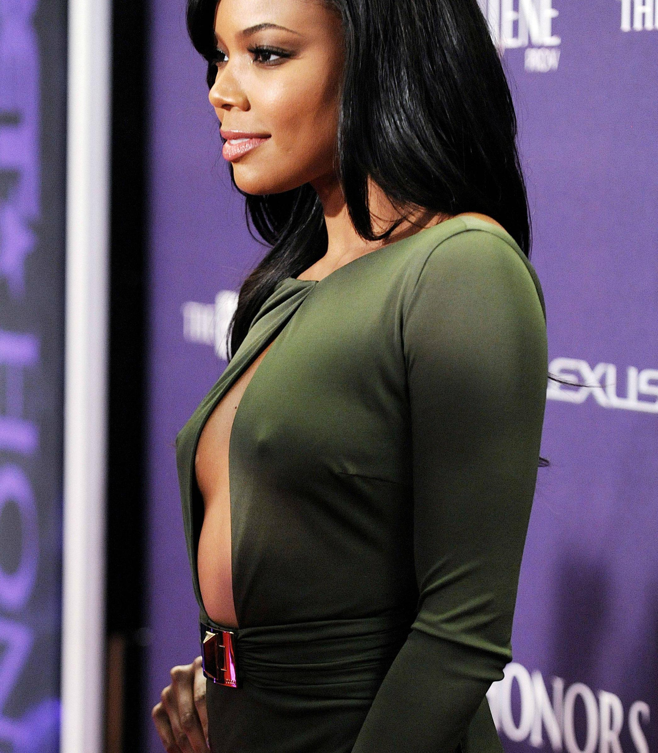 Gabrielle Union Hot and Sexy With Huge Cleavage and Firm Nipples