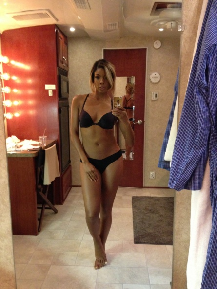 Gabrielle Union Hot in Black Bra and Thong Homemade Selfie