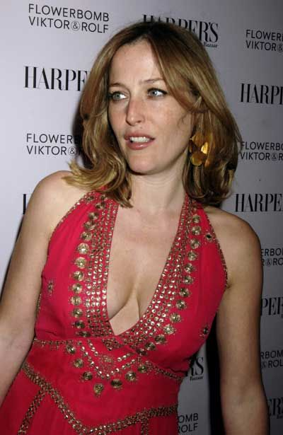 Gillian Anderson Big Cleavage in Hot Red Dress