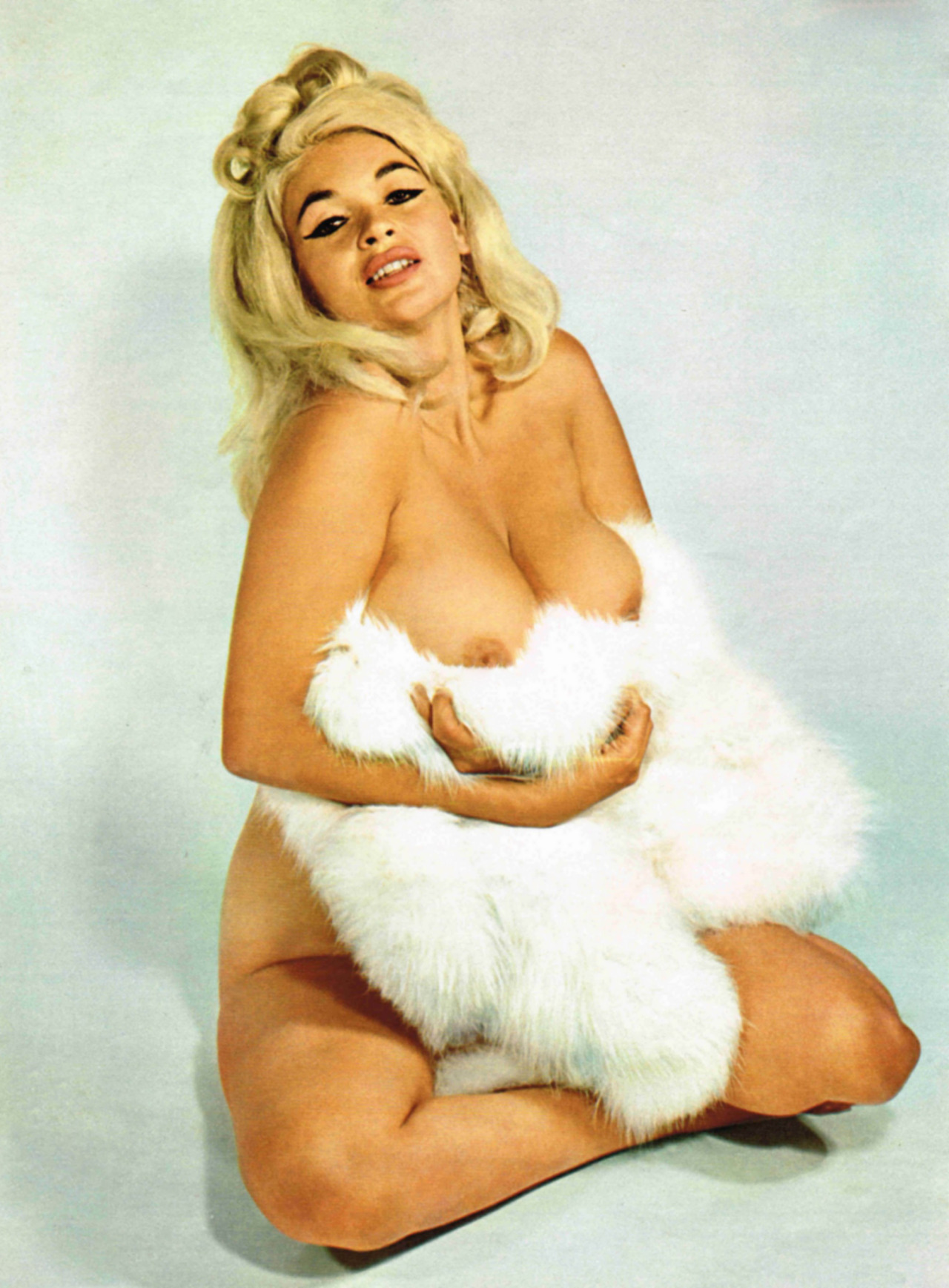 Jayne Mansfield Nude Holding Her Boobs With White Fur