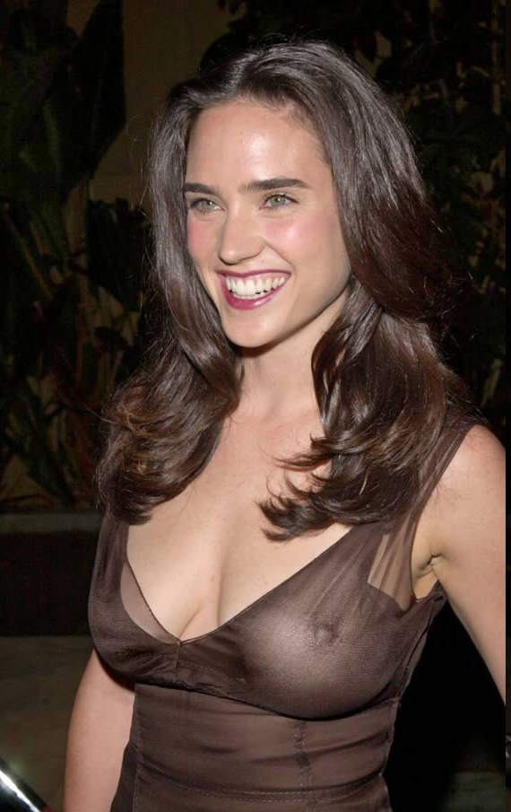 Jennifer Connelly Nude Huge Tits and Nipples See Through Dress