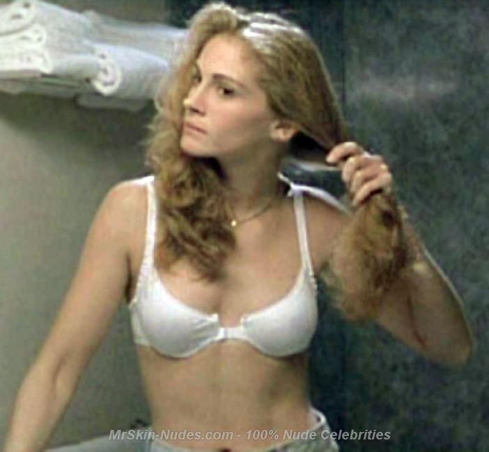 Julia Roberts Half Nude in Sexy White Bra