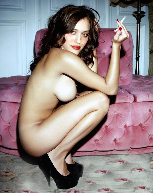 Kat Dennings Nude Posing with High Heels and Cigarette
