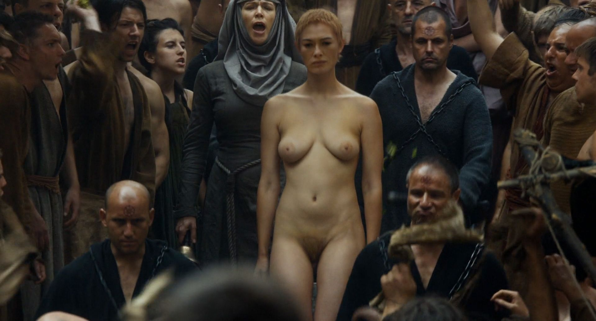 Lena Headey Nude Big Boobs and Hairy Pussy