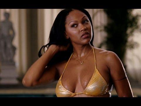 Meagan Good Half Nude in a Hot Golden Bikini