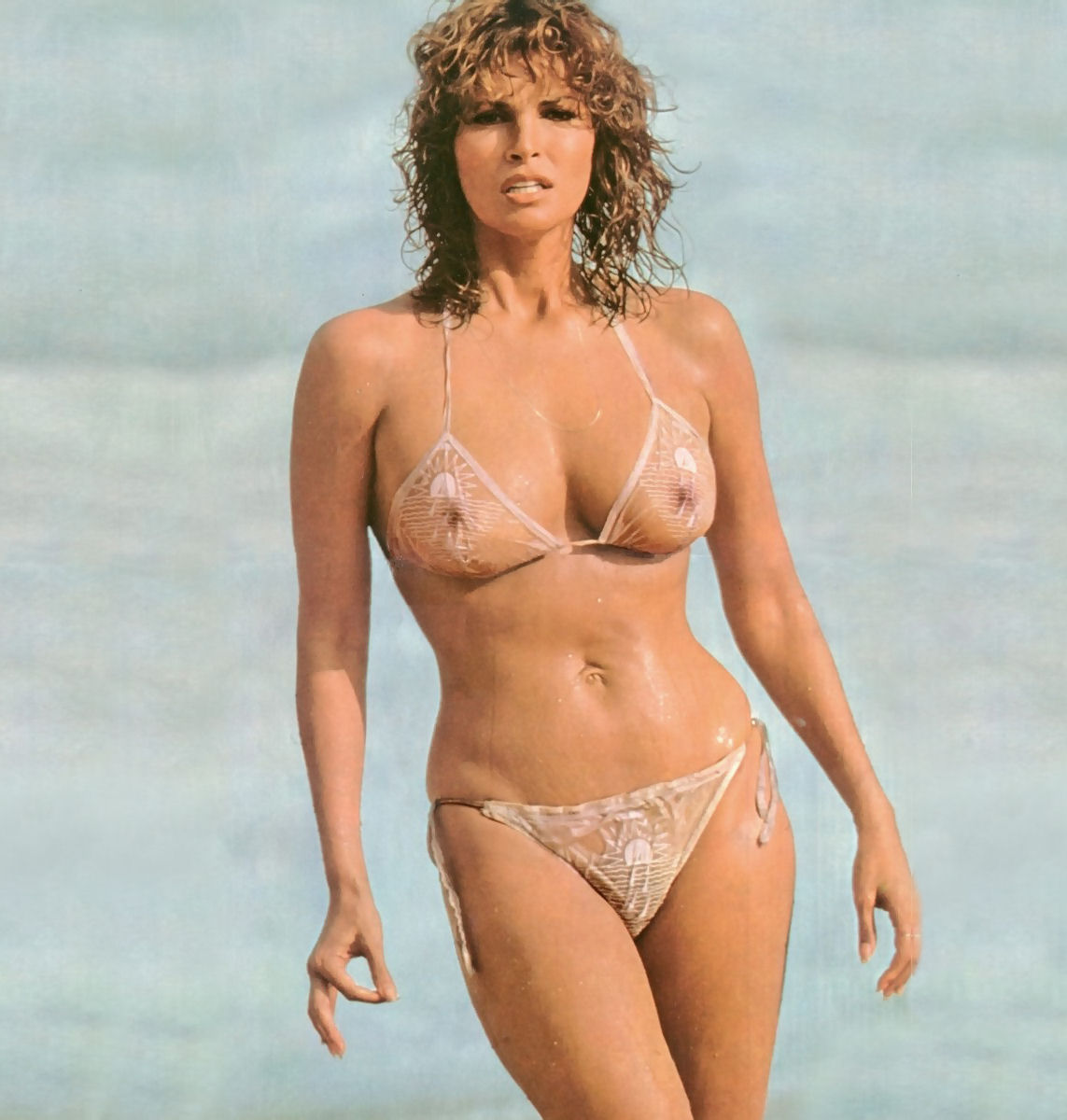 Raquel Welch Half Nude in Transparent Bikini