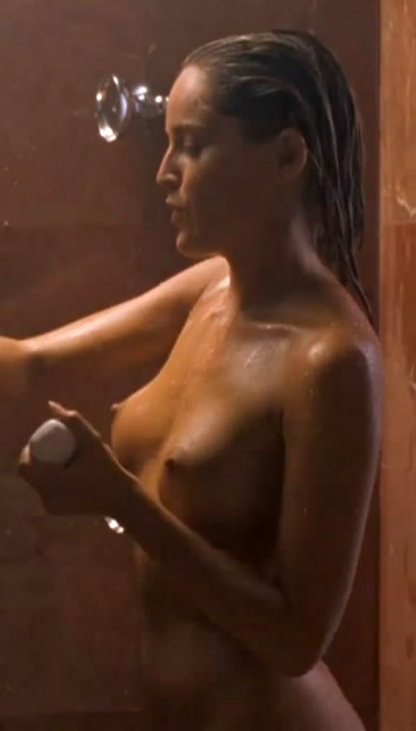 Sharon Stone Nude with Hot Tits Taking a Shower