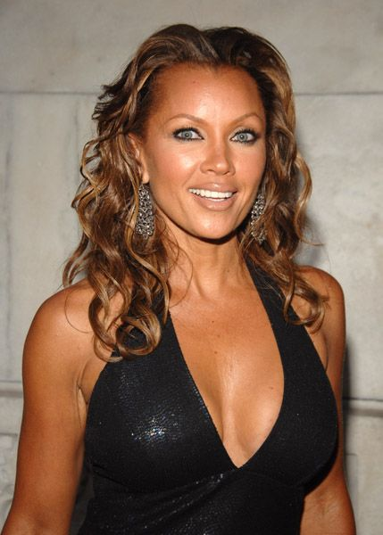 Vanessa Williams Hot in Sexy Black Dress with Big Cleavage